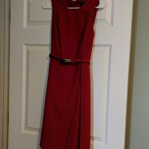 Deep red dress,  belt with gold slim buckle